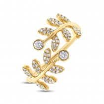 0.36ct 14k Yellow Gold Diamond Leaf Lady's Ring