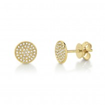 0.17ct 14k Yellow Gold Diamond Pave Stud Earrings