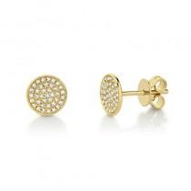 0.17ct 14k Yellow Gold Diamond Pave Stud Earrings