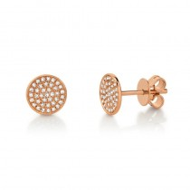 0.17ct 14k Rose Gold Diamond Pave Stud Earrings