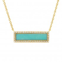 0.15ct Diamond & 1.02ct Composite Turquoise 14k Yellow Gold Bar Necklace
