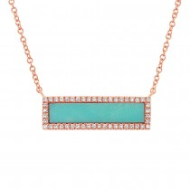 0.15ct Diamond & 1.02ct Composite Turquoise 14k Rose Gold Bar Necklace