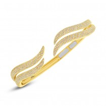 1.59ct 14k Yellow Gold Diamond Pave Bangle