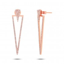0.46ct 14k Rose Gold Diamond Triangle Ear Jacket Earrings With Studs
