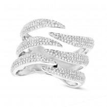 0.86ct 14k White Gold Diamond Pave Lady's Ring