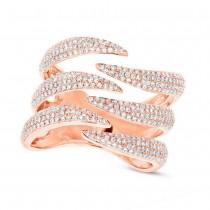 0.86ct 14k Rose Gold Diamond Pave Lady's Ring