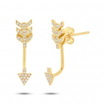 0.15ct 14k Yellow Gold Diamond Arrow Earrings Jacket With Studs