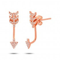0.15ct 14k Rose Gold Diamond Arrow Earrings Jacket With Studs