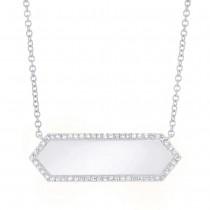 0.12ct 14k White Gold Diamond Bar ID Necklace