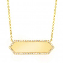 0.12ct 14k Yellow Gold Diamond Bar ID Necklace
