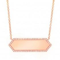 0.12ct 14k Rose Gold Diamond Bar ID Necklace