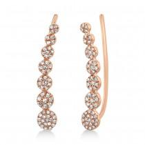 0.25ct 14k Rose Gold Diamond Ear Crawler Earrings