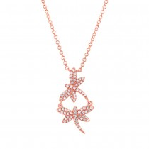 0.18ct 14k Rose Gold Diamond Dragonfly Necklace