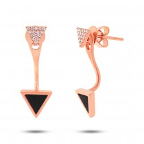 0.09ct Diamond & 0.40ct Onyx 14k Rose Gold Triangle Earrings Jacket With Stud