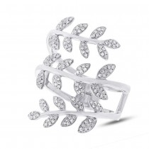 0.34ct 14k White Gold Diamond Leaf Ring