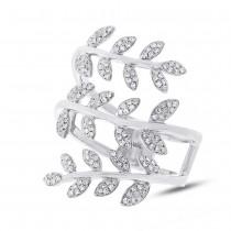 0.34ct 14k White Gold Diamond Leaf Ring