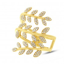 0.34ct 14k Yellow Gold Diamond Leaf Ring