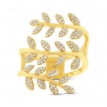 0.34ct 14k Yellow Gold Diamond Leaf Ring