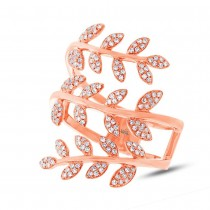 0.34ct 14k Rose Gold Diamond Leaf Ring