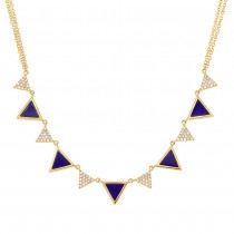 0.26ct Diamond & 1.21ct Lapis 14k Yellow Gold Triangle Necklace