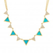 0.26ct Diamond & 0.88ct Composite Turquoise 14k Yellow Gold Triangle Necklace