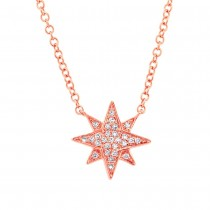 0.06ct 14k Rose Gold Diamond Star Necklace