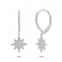 0.17ct 14k White Gold Diamond Star Earrings