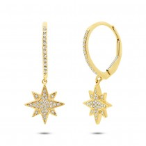 0.17ct 14k Yellow Gold Diamond Star Earrings