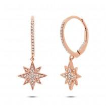 0.17ct 14k Rose Gold Diamond Star Earrings