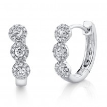 0.37ct 14k White Gold Diamond Huggie Earrings