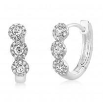 0.37ct 14k White Gold Diamond Huggie Earrings