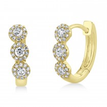 0.37ct 14k Yellow Gold Diamond Huggie Earrings