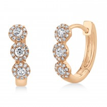 0.37ct 14k Rose Gold Diamond Huggie Earrings