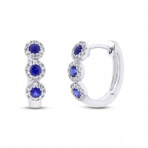 0.15ct Diamond & 0.30ct Blue Sapphire 14k White Gold Huggie Earrings