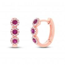 0.15ct Diamond & 0.29ct Ruby 14k Rose Gold Huggie Earrings