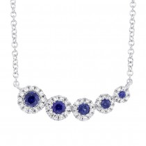 0.13ct Diamond & 0.25ct Blue Sapphire 14k White Gold Necklace