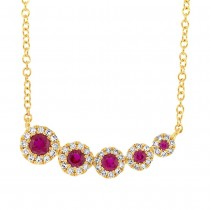 0.13ct Diamond & 0.22ct Ruby 14k Yellow Gold Necklace