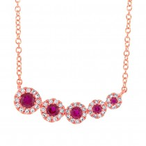 0.13ct Diamond & 0.22ct Ruby 14k Rose Gold Necklace