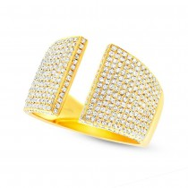 0.92ct 14k Yellow Gold Diamond Pave Lady's Ring