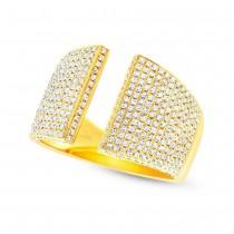 0.92ct 14k Yellow Gold Diamond Pave Lady's Ring