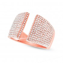 0.92ct 14k Rose Gold Diamond Pave Lady's Ring