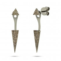 14k Black Rhodium Gold Champagne Diamond Pave Triangle Ear Jacket Earrings With Studs