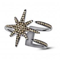 0.26ct 14k Black Rhodium Gold Champagne Diamond Lady's Ring