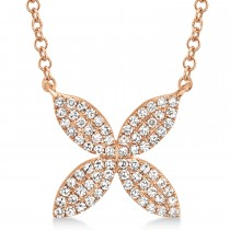 0.20ct 14k Rose Gold Diamond Flower Necklace