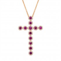 0.45ct Diamond & 1.03ct Ruby 14k Rose Gold Diamond Cross Pendant Necklace