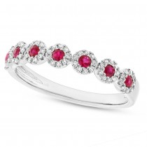0.16ct Diamond & 0.24ct Ruby 14k White Gold Lady's Ring