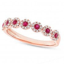 0.16ct Diamond & 0.24ct Ruby 14k Rose Gold Lady's Ring