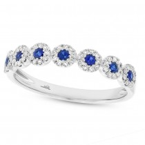 0.16ct Diamond & 0.20ct Blue Sapphire 14k White Gold Lady's Ring