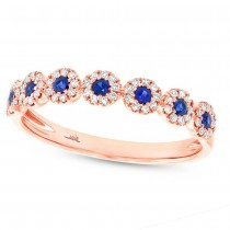 0.16ct Diamond & 0.20ct Blue Sapphire 14k Rose Gold Lady's Ring