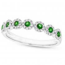 0.16ct Diamond & 0.22ct Green Garnet 14k White Gold Lady's Ring